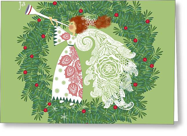 Christmas Art Greeting Cards - Angel with Christmas Wreath Greeting Card by Valerie   Drake Lesiak