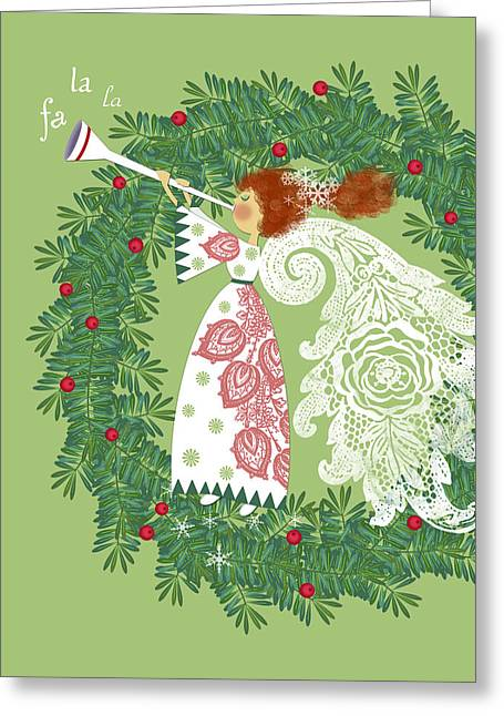 Christmas Mixed Media Greeting Cards - Angel with Christmas Wreath Greeting Card by Valerie   Drake Lesiak