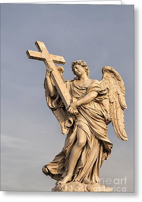 Religious Photographs Greeting Cards - Angel With Cross Greeting Card by Antony McAulay