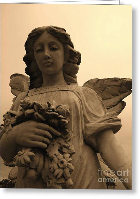 America Sculptures Greeting Cards - Angel With Flowers Greeting Card by Nathan Little