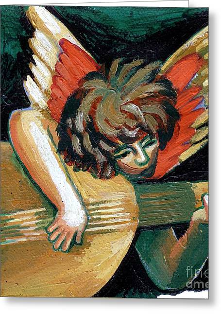 Toy Guitar Greeting Cards - Angel With Lute Greeting Card by Genevieve Esson