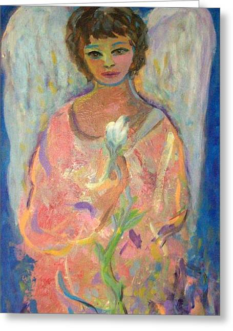 Night Angel Greeting Cards - Angel with lily Greeting Card by Relly Peckett