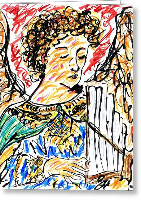 Ma.. Drawings Greeting Cards - Angel with Pipes - Final Greeting Card by Rachel Scott