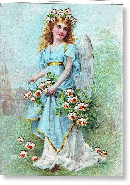 Cards Vintage Greeting Cards - Angel with Roses Greeting Card by Munir Alawi