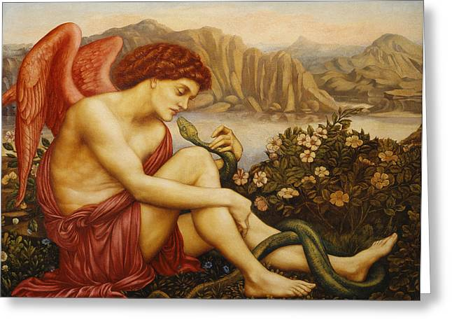 Angel with Serpent Greeting Card by Evelyn De Morgan