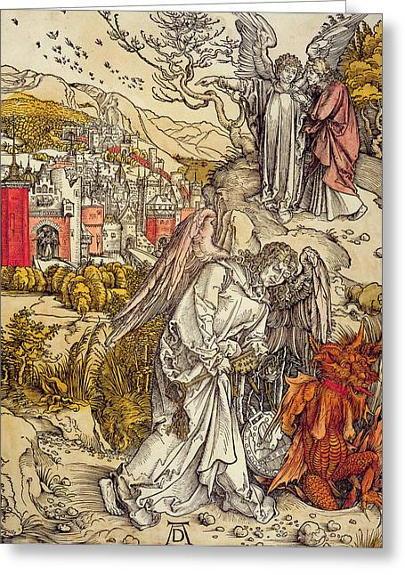 Abyss Greeting Cards - Angel with the Key of the Abyss Greeting Card by Albrecht Durer or Duerer