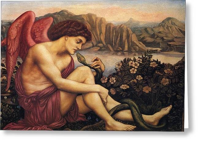 Evelyn De Greeting Cards - Angel With The Serpent Greeting Card by Evelyn de Morgan
