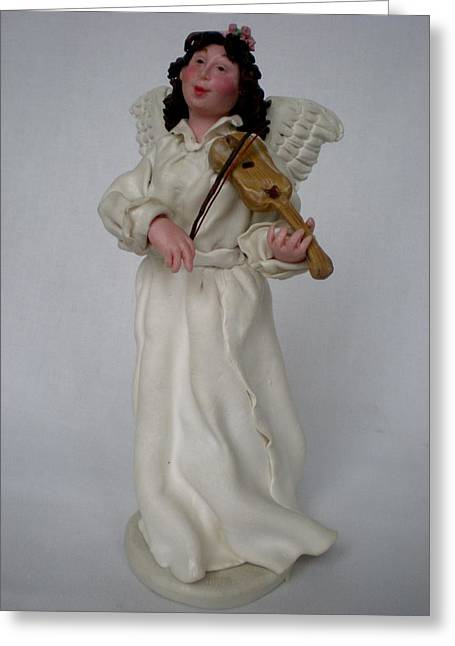 Religions Ceramics Greeting Cards - Angel with violine Greeting Card by Natalia Elerdashvili