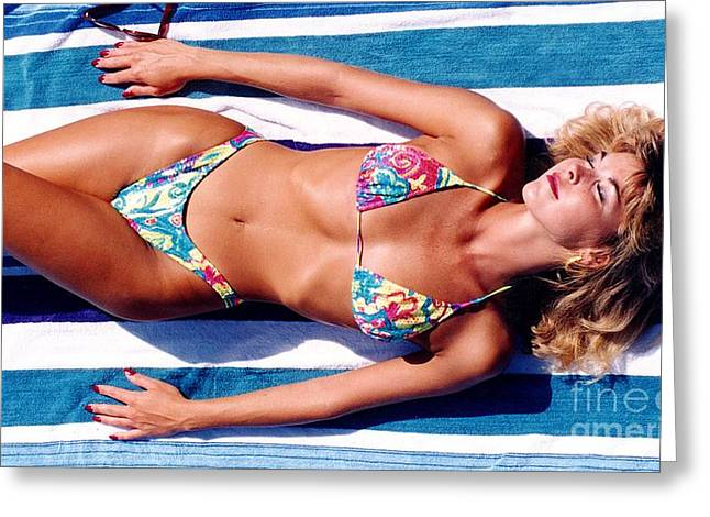 Swimsuit Photo Greeting Cards - Angela Blue Bikini Greeting Card by Gary Gingrich Galleries