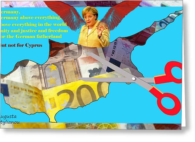 Bankrupt Greeting Cards - Angela Merkel Cyprus Haircut Greeting Card by Augusta Stylianou