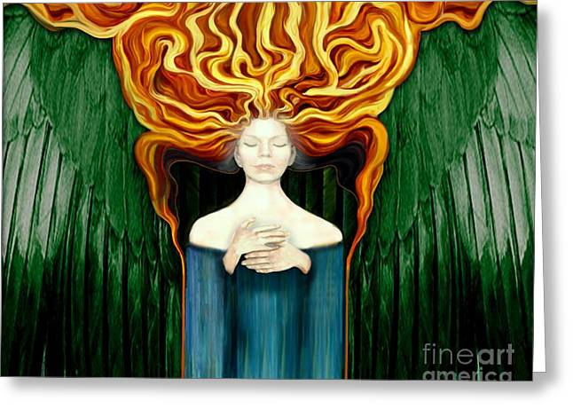 Seraphim Angel Greeting Cards - Angelfire 2 Greeting Card by Dia T