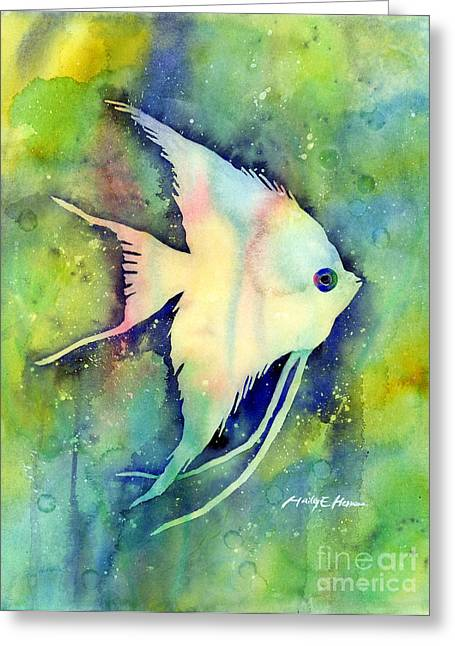 Tropical Fish Greeting Cards - Angelfish I Greeting Card by Hailey E Herrera