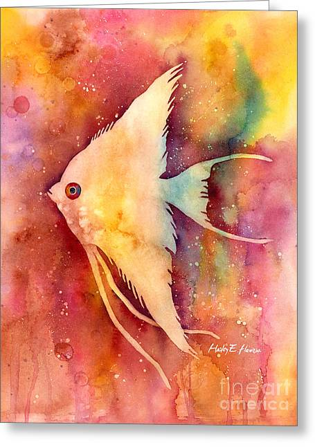 Reef Fish Paintings Greeting Cards - Angelfish II Greeting Card by Hailey E Herrera