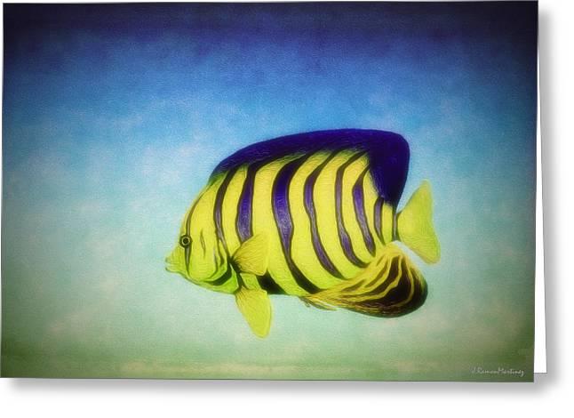 Oceano Greeting Cards - Angelfish Greeting Card by Ramon Martinez