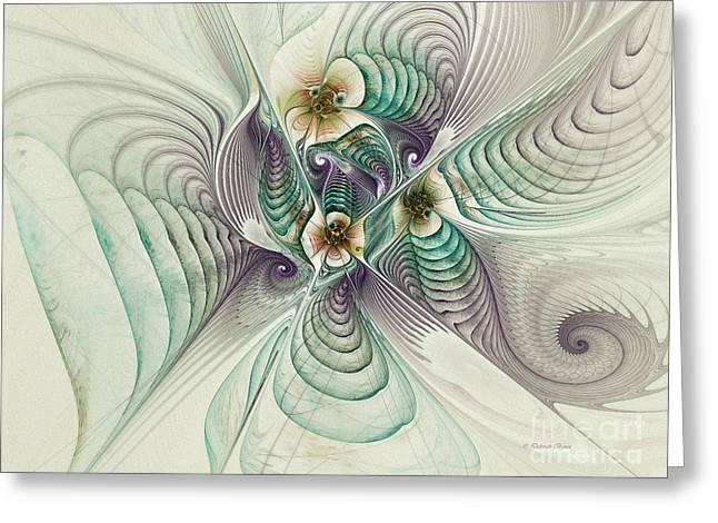 Surreal Geometric Greeting Cards - Angelic Entities Greeting Card by Deborah Benoit