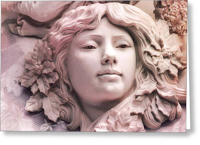 Sculpture Art Greeting Cards - Angelic Female Face Portrait Sculpture Art Deco - Dreamy Pink Angel Face Greeting Card by Kathy Fornal