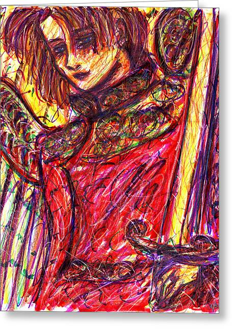 Ma.. Drawings Greeting Cards - Angelic Warrior Greeting Card by Rachel Scott