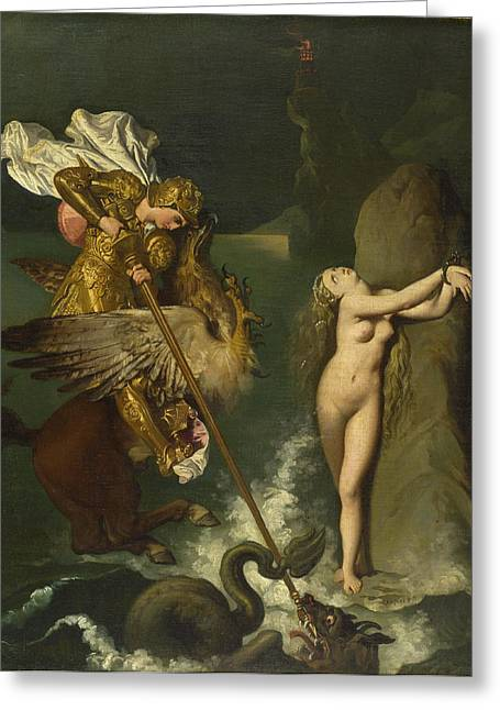 Angelica Greeting Cards - Angelica saved by Ruggiero Greeting Card by Jean-Auguste-Dominique Ingres