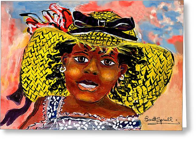 Sun Hat Mixed Media Greeting Cards - Angelina - 2013 Greeting Card by Everett Spruill
