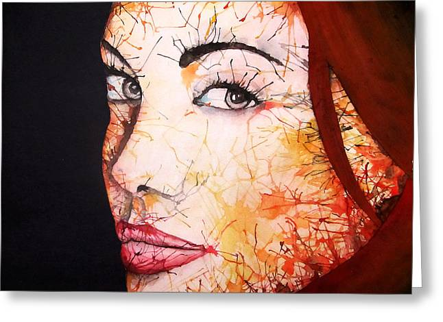 Acting Paintings Greeting Cards - Angelina Greeting Card by Atinder Paul Singh