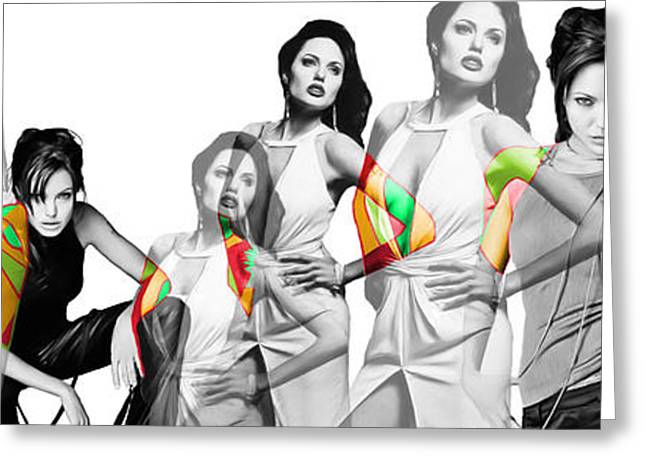 Movie Art Greeting Cards - Angelina jolie a la Warhol Greeting Card by Dominique Amendola