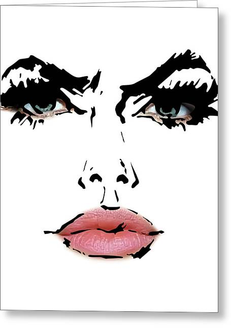 Famous Person Mixed Media Greeting Cards - Angelina Jolie - Abstract Drawing And Reality Face  Greeting Card by Nenad  Cerovic
