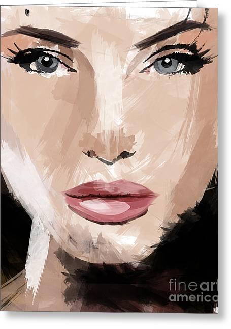 Top Selling Digital Art Greeting Cards - Angelina Jolie Greeting Card by Ahmad Alyaseer