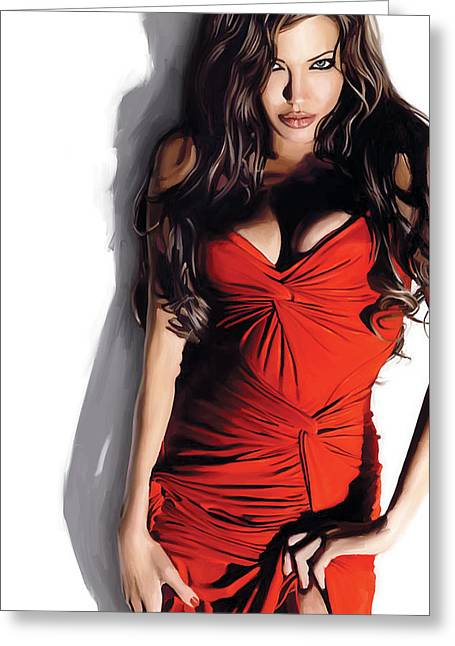Celebrity Prints Greeting Cards - Angelina Jolie Artwork Greeting Card by Sheraz A