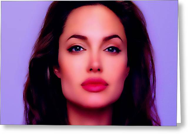 Award Digital Greeting Cards - Angelina Jolie Beautiful Lips Greeting Card by Brian Reaves