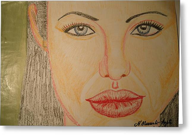 Angelina Jolie Greeting Card by Fladelita Messerli-