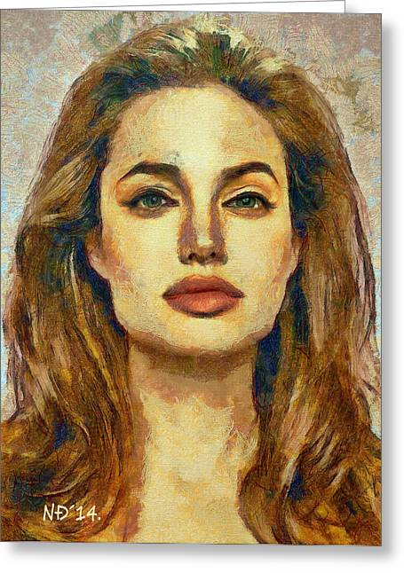 Lucent Dreaming Greeting Cards - Angelina Jolie III Greeting Card by Nikola Durdevic