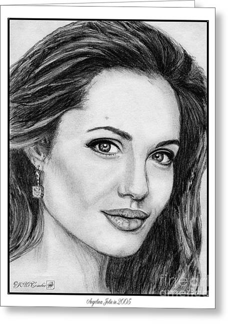 60 Inches Drawings Greeting Cards - Angelina Jolie in 2005 Greeting Card by J McCombie