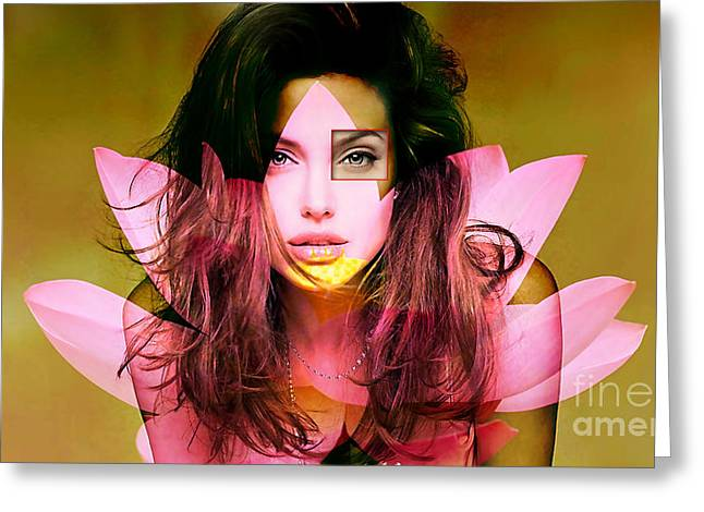 Color Image Greeting Cards - Angelina Jolie Painting Greeting Card by Marvin Blaine