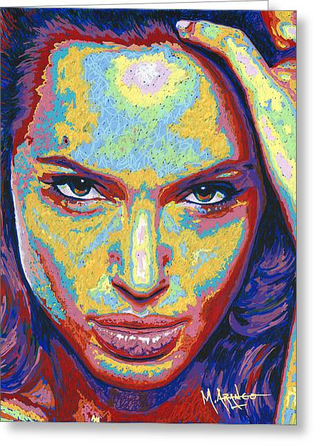 Golden Globe Greeting Cards - Angelina Greeting Card by Maria Arango