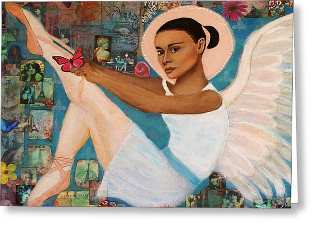 Earthangel Greeting Cards - Angelique Earthangel from France Greeting Card by The Art With A Heart By Charlotte Phillips