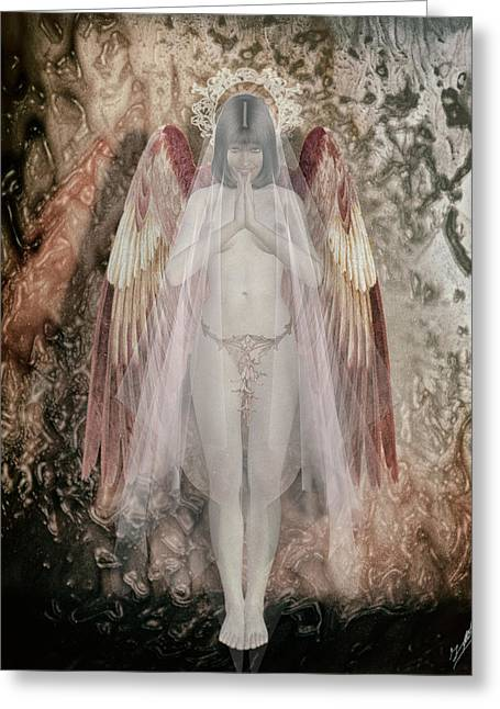 Seraphim Angel Greeting Cards - Angelita friendly Greeting Card by Joaquin Abella