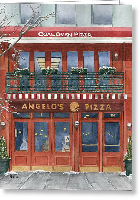 Pizza Joints Greeting Cards - Angelos on 57th Street Greeting Card by Rhonda Leonard