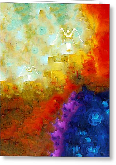 Heavenly Greeting Cards - Angels Among Us - Emotive Spiritual Healing Art Greeting Card by Sharon Cummings
