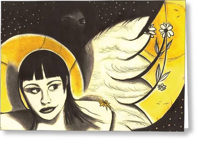Guardian Angel Pastels Greeting Cards - Angels Amung Us Greeting Card by Anna Kaszupski