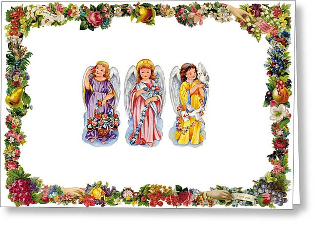 Cards Vintage Greeting Cards - Angels and Flowers Greeting Card by Munir Alawi