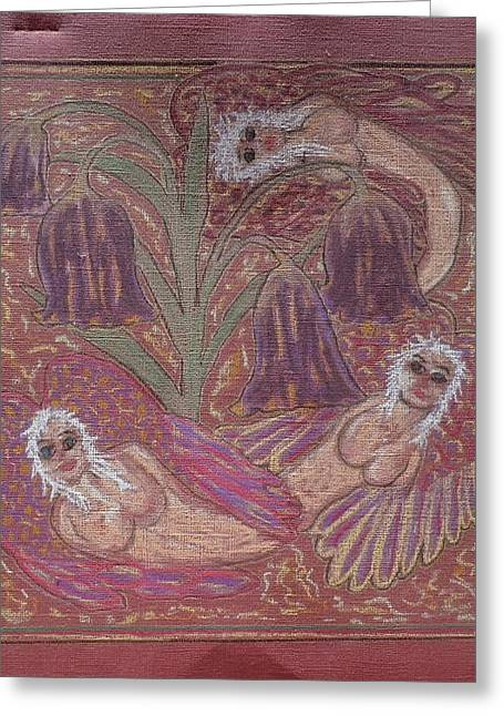 Nude Our Lady Virgin Mary Pray Jesus God Angels Heaven Love Faith Sadness Blessed Peace Cross Crown Crucifixion Compassion Loss Contentment Trails Fortitude Hope Death Afterlife Flowers Garden Moon Star Greeting Cards - Angels and Fritillarias Greeting Card by Lyn Blore Dufty