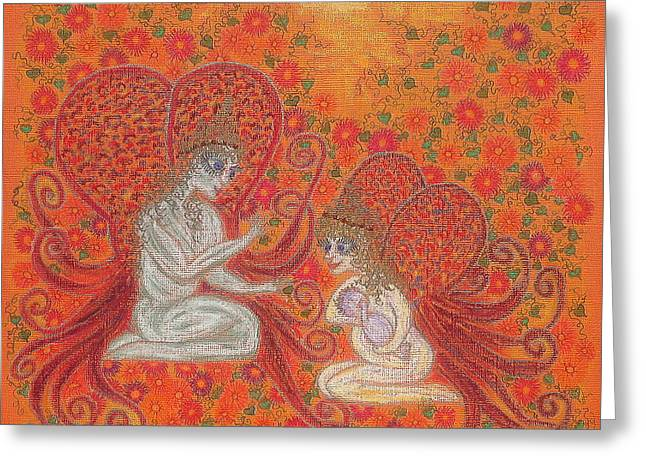 Jesus Pastels Greeting Cards - Angels and The Baby  Greeting Card by Lyn Blore Dufty