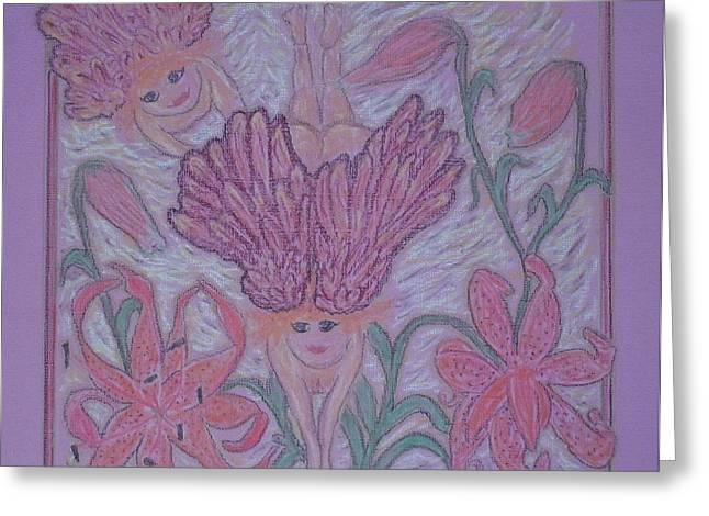 Faith Pastels Greeting Cards - Angels at Play in Tiger Lilies Greeting Card by Lyn Blore Dufty