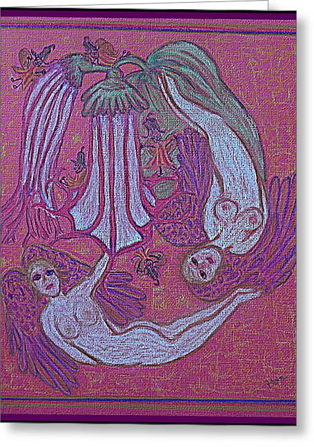 Jesus Pastels Greeting Cards - Angels At Play With The Angels Trumpets Greeting Card by Lyn Blore Dufty