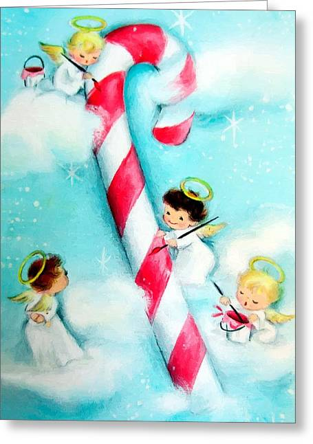 Celebration Art Print Digital Art Greeting Cards - Angels at Work Greeting Card by Munir Alawi