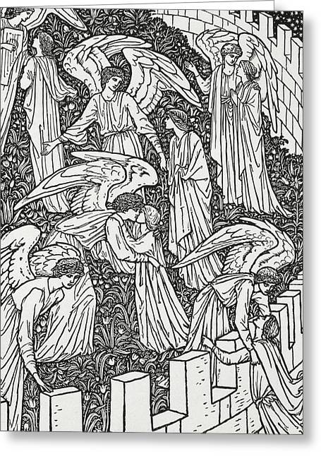 Decorated Greeting Cards - Angels behind the inner sanctuary Greeting Card by William Morris