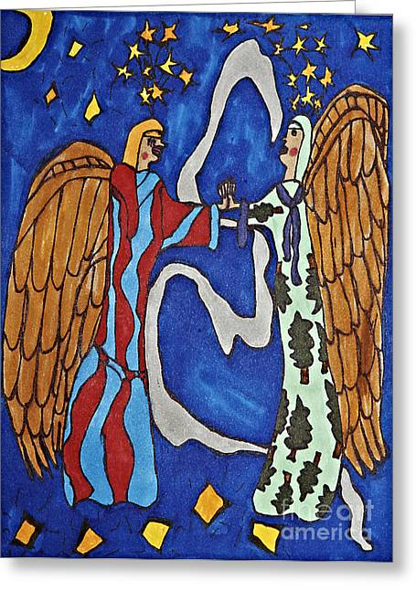Night Angel Drawings Greeting Cards - Angels Connect Greeting Card by Stephanie Ward