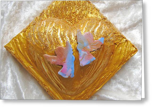 Golds Reliefs Greeting Cards - Angels dance of joy Greeting Card by Heidi Sieber