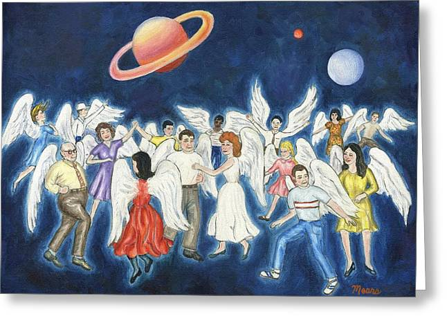 Rock And Roll Heaven Greeting Cards - Angels Dancing Greeting Card by Linda Mears