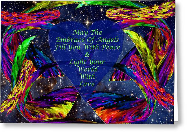 Night Angel Greeting Cards - Angels Embrace Greeting Card by Michele  Avanti